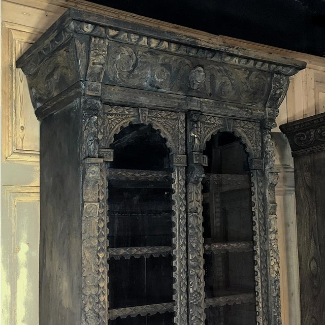 Mid 19th Century 19th Century English Renaissance Weathered Oak Bookcase For Sale - Image 5 of 11