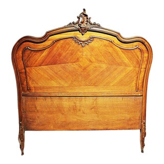 French Louis-XV Antique Walnut Headboard, Full or Queen For Sale