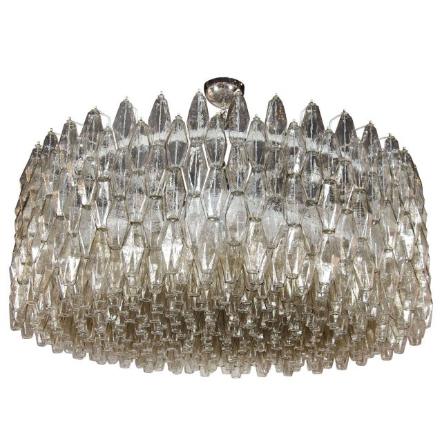 Glass Impressive Handblown Smoked Murano Glass Polyhedral Chandelier by Venini For Sale - Image 7 of 7