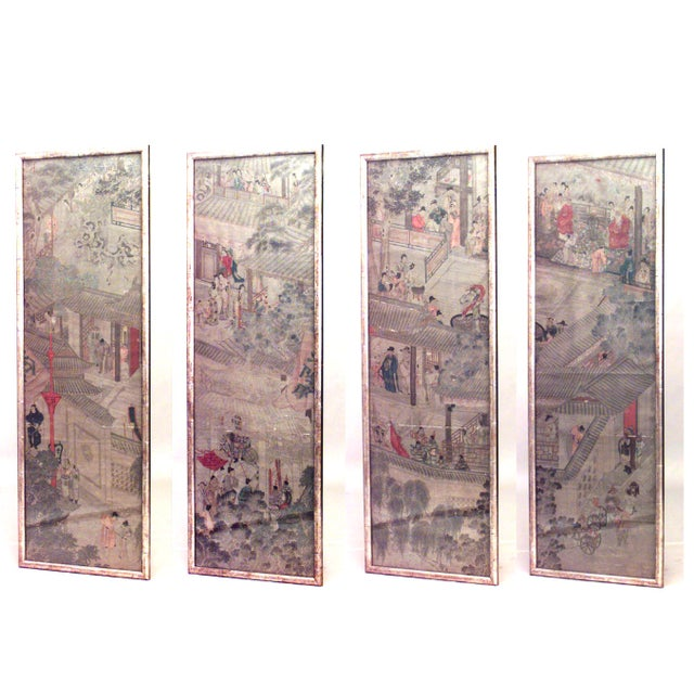 19th C. Chinese Watercolor Landscape Panels- Set of 4 For Sale In New York - Image 6 of 6