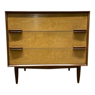Mid Century Modern Walnut and Birch Three-Drawer Chest For Sale