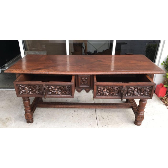 17th Century Spanish Baroque Carved Walnut, Refectory Console Table For Sale - Image 4 of 10