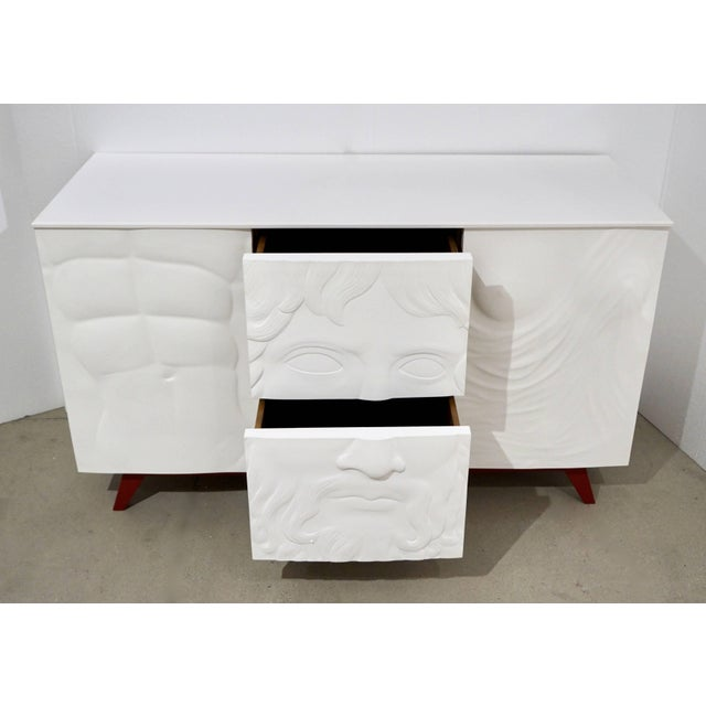 Contemporary Italian White Sideboard or Cabinet With Burgundy Wood Legs For Sale In New York - Image 6 of 11