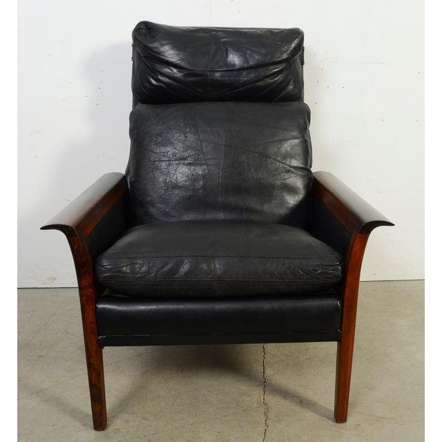 Danish Modern Hans Olsen Knut Saeter Vatne Mobler Rosewood Leather High Back Chair For Sale - Image 3 of 8