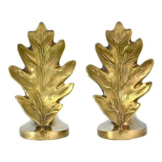 Brass Oak Leaf Bookends - A Pair