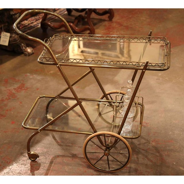 Mid-20th Century French Brass Cart With Removable Upper Tray - Image 8 of 10