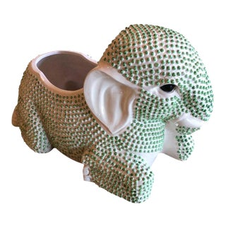 Vintage Green Hobnail Elephant Ceramic Planter For Sale