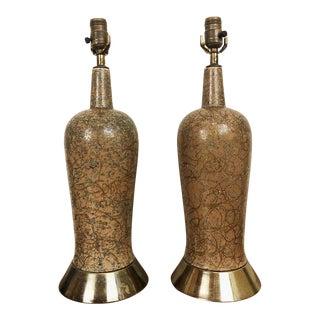 1960s Ceramic Tutti Frutti Gold Splatter Lamps - a Pair For Sale
