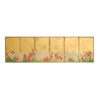 Japanese Six Panel Spring Blossoms on Gold Leaf Screen For Sale