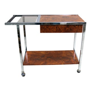 Chrome and Burl Laminate Bar Cart in the Style of Milo Baughman For Sale