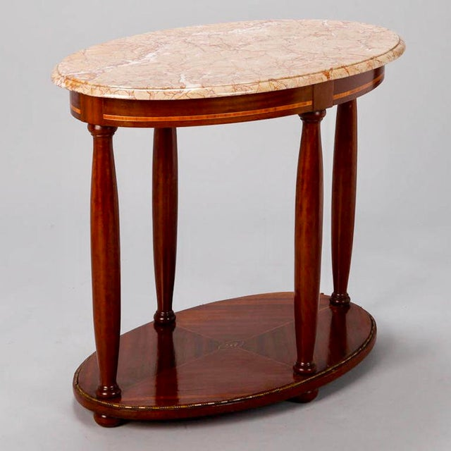 Empire French Directoire Oval Center Table with Rouge Marble Top For Sale - Image 3 of 7