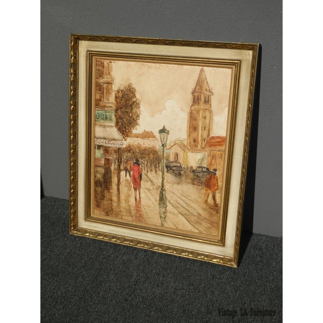 French Vintage Mid-Century French City Scape Oil Painting Picture Gold Frame For Sale - Image 3 of 11