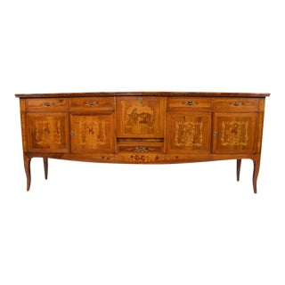 Traditional Antique Italian Buffet With Marquetry Details
