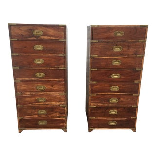 Antique English Style Campaign Chest of Drawers - a Pair For Sale