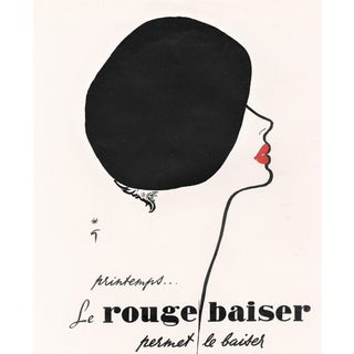 Matted Mid-Century Lipstick Advertising Print by Gruau For Sale