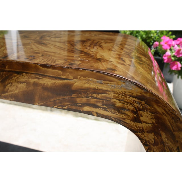 Faux Tortoise Waterfall Console Table in the Style of Karl Springer For Sale - Image 9 of 12
