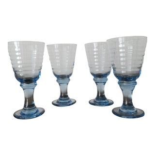 1980's Vintage Translucent Blue Water Goblets- Set of 4 For Sale