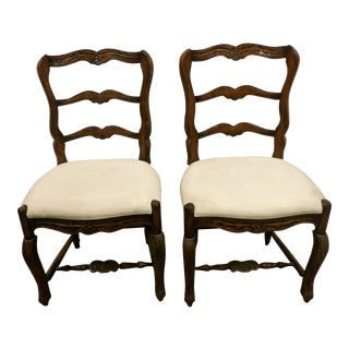 Vintage Mid Century Carved Oak Side Chairs- A Pair For Sale