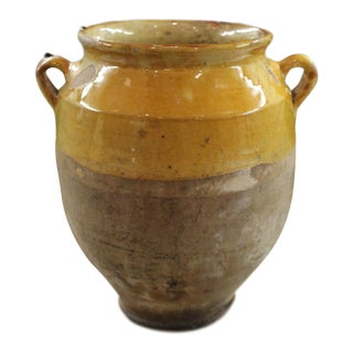 Antique French Country Confit Pot Pottery Jar For Sale