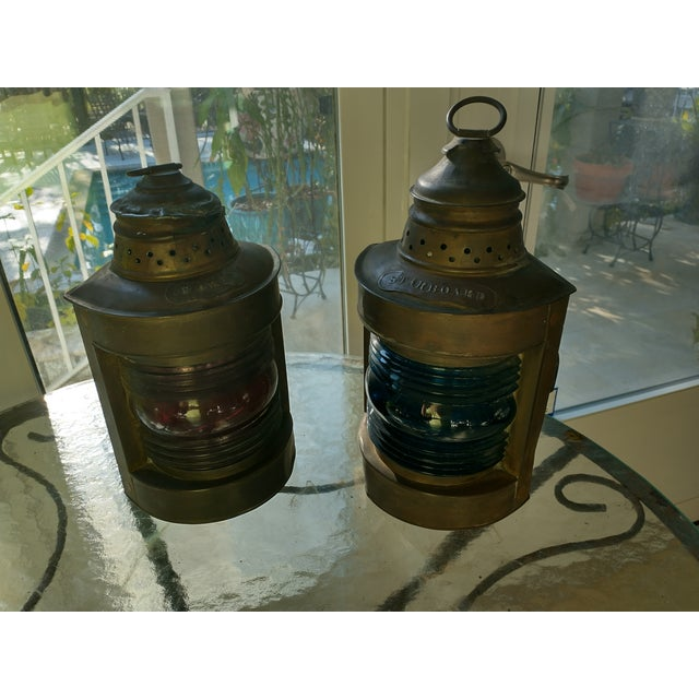 Mid 20th Century Copper Nautical Lanterns - a Pair For Sale - Image 13 of 13