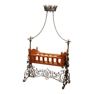 19th Century French Napoleon III Walnut and Iron Baby Craddle with Canopy For Sale