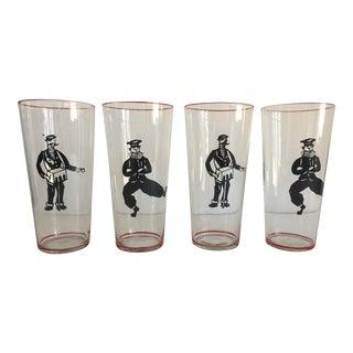 Vintage Character Glasses - Set of 4 For Sale