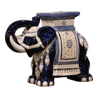 Mid-20th Century Hand Painted Faience Elephant Garden Seat For Sale