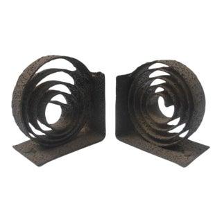 Vintage Brutalist Metal Spiral Bookends - a Pair For Sale