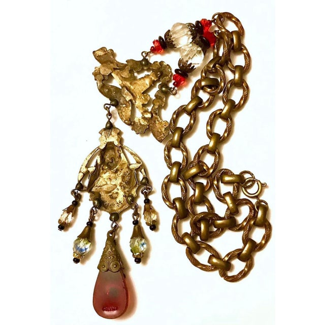 Early 20th Century 1920s to 1930s Czechoslovakian Egyptian Revival Necklace For Sale - Image 5 of 6