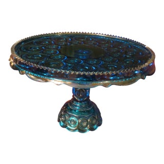 Moon and Stars Aqua Blue Ruffled Cake Stand For Sale