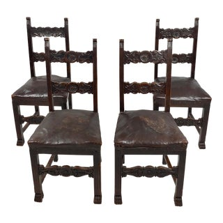 19th Century Spanish Revival Carved Chairs withLeather Seats - Set of 4 For Sale