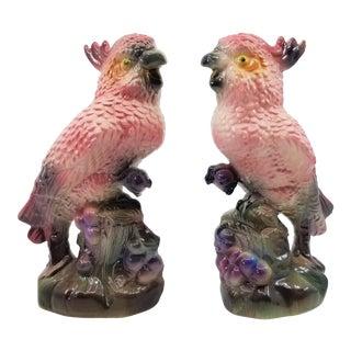 Pink Cockatoo Parrot Bird Figurine Sculptures - a Pair - Mid Century Modern Palm Beach Boho Chic Animal For Sale