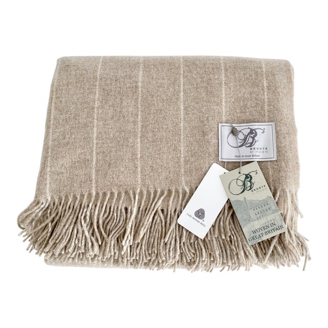 English Neutral Lambswool Throw Blanket For Sale
