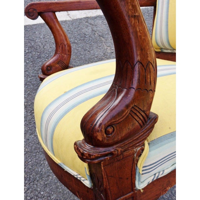 19th Century Napoleonic Mahogany Carved Arm Chair For Sale In New York - Image 6 of 12