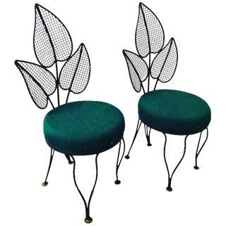 Pair of Mid Century Modern Pair of John Salterini Wrought Iron Leaf Patio Chairs