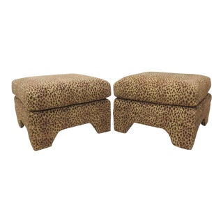 Leopard Upholstered Ottomans - A Pair For Sale