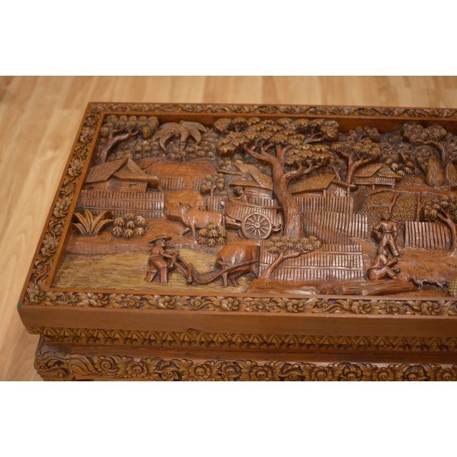 Asian Hand-Carved Teak Coffee Table For Sale - Image 4 of 9