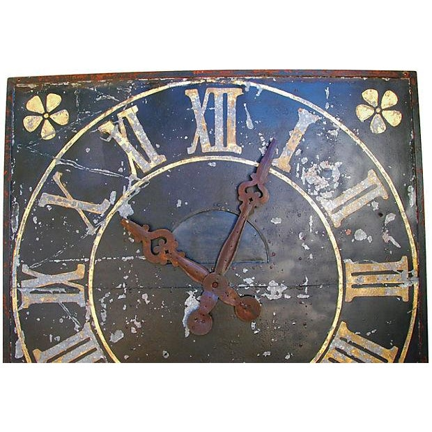 "X-Large Stunning Antique French Iron & Gilt Tower Clock Face 79"" Square For Sale In Los Angeles - Image 6 of 9"