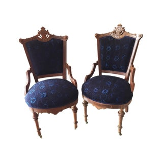 Antique Victorian Chairs W/Indigo Fabric - a Pair For Sale