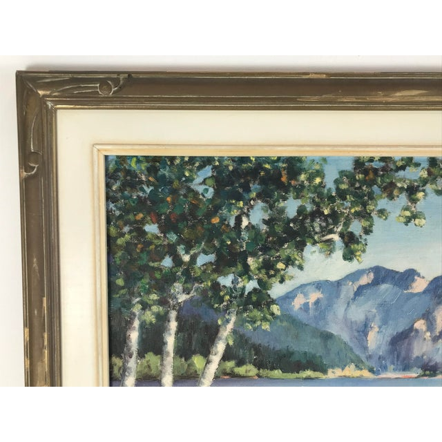 1940s 1940's Original Oil on Canvas Mountain Landscape Signed For Sale - Image 5 of 13