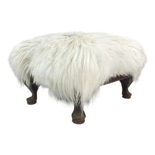 Early 20th Century Goat Pelt Footstool