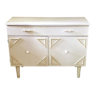 Vintage Mid-Century Wood & Mica Faux Bamboo Buffet Chest