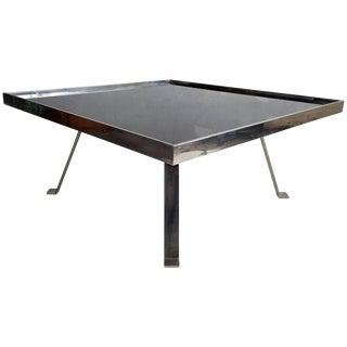 Italian Modernist Aluminium and Black Glass (Vitrolite) Cocktail Table For Sale