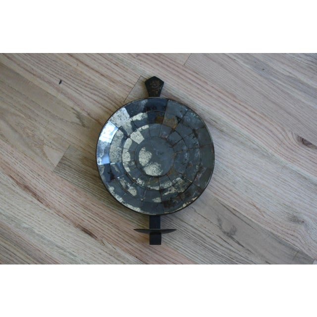 Mexican Handmade Iron Mirrored Reflector Candle Sconce - Image 2 of 10