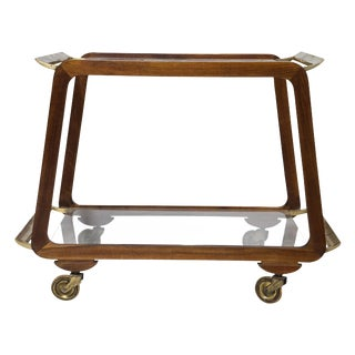 Mid Century Austrian Walnut and Brass Bar Cart For Sale
