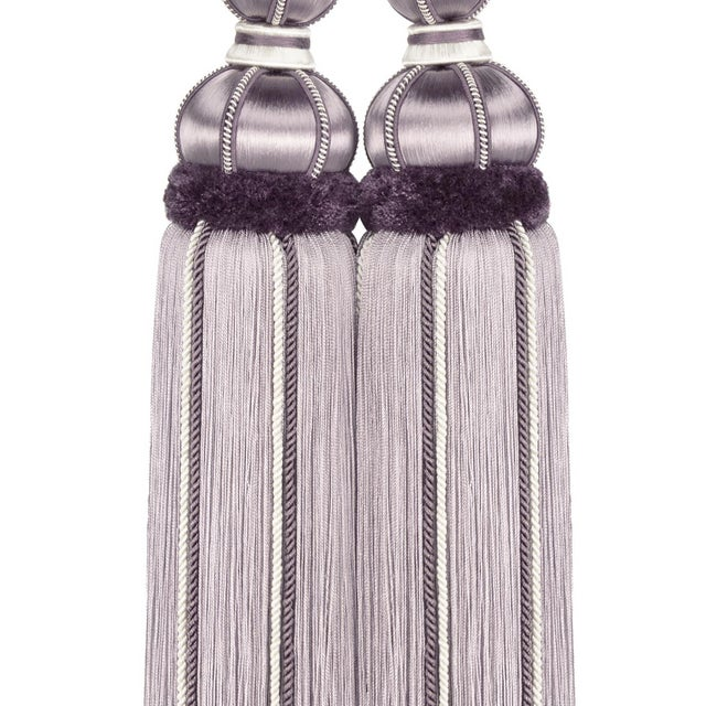 "Art Deco Wisteria & Lavender Double Tassel Tieback With Cut Ruche- Tassel Height 17"" For Sale - Image 3 of 8"