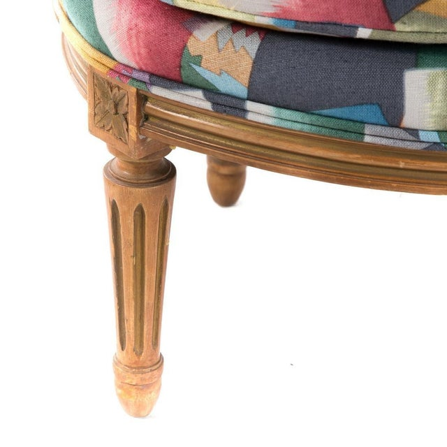 French Pair of Louis XVI Style Vintage Slipper Chairs For Sale - Image 3 of 5