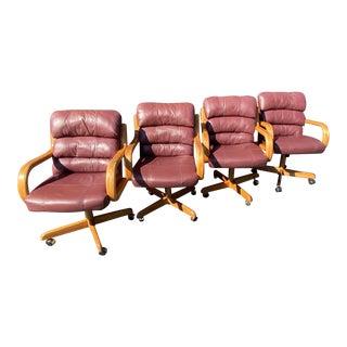 Vintage Boho Chic Douglas Leather Desk Chairs - Set of 4 For Sale