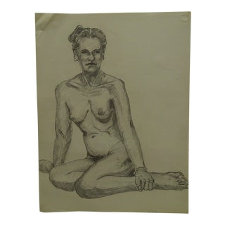 """1958 Mid-Century Modern Original Drawing on Paper, """"Sitting Low in the Nude"""" by Tom Sturges Jr. For Sale"""