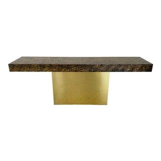 Milo Baughman Brass Plinth Console, Thayer Coggin For Sale